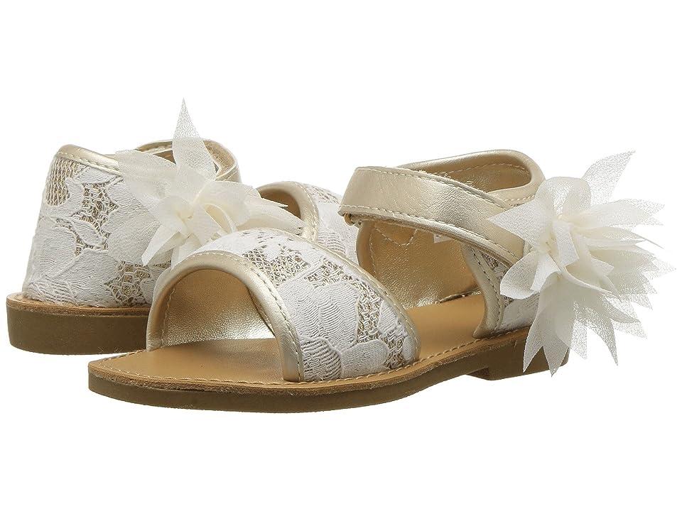 Baby Deer First Steps Lace Sandal (Infant/Toddler) (Ivory/Gold) Girls Shoes