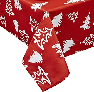 Obstal Rectangle Christmas Table Cloth, Oil-Proof Spill-Proof and Water Resistance Tablecloth, Decorative Fabric Table Cover for Outdoor and Indoor Use (60 x 102 inch, Tree)