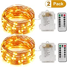 MXZONE LED Fairy String Lights, 33ft/10m 100leds Dimmable Decorative Lights, Battery Operated Copper Wire Lights for Bedroom, Patio, Wedding, Festival Parties (Remote&Timer,Warm White)