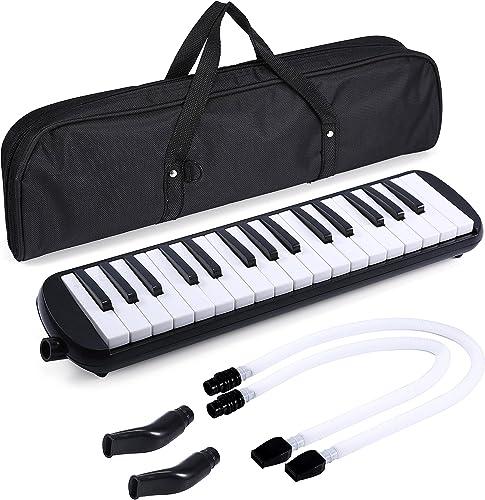 Asmuse Mélodica 32 Touches Clavier de Style Piano Instrument Musical Organ ou Accordéon avec 4 embouchures(2 extensib...