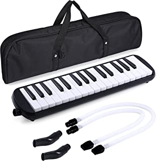 Asmuse Mélodica 32 Touches Clavier de Style Piano Instrument Musical Organ ou Accordéon avec 4 embouchures(2 extensibles+ ...