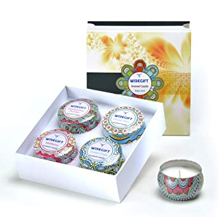 Wisegift Scented Candles Gift Set of 4, 100% Natural Soy Wax Portable Travel Tin, or Use for Weddings Party Birthdays Anniversary, Valentines Day, Aromatherapy, Stress Relief Candles.