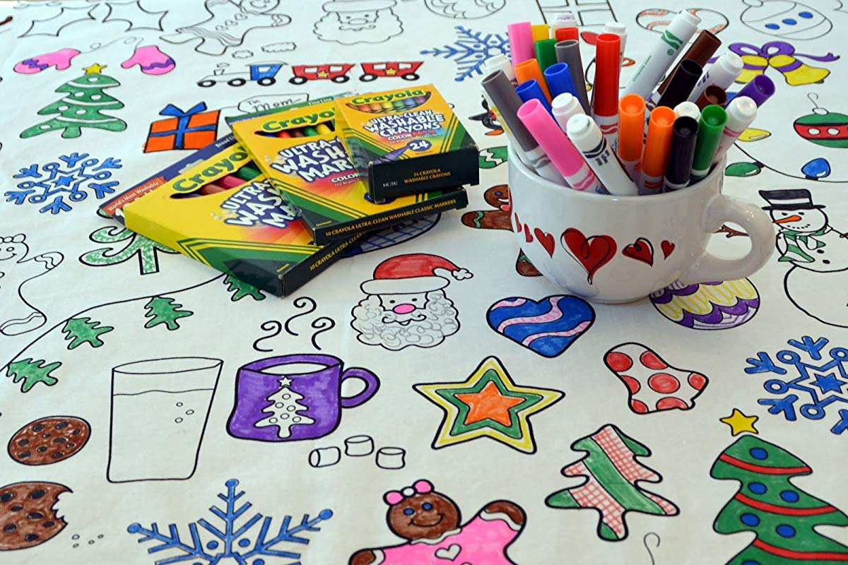 The Coloring Table Colorable Holiday Tablecoth Square