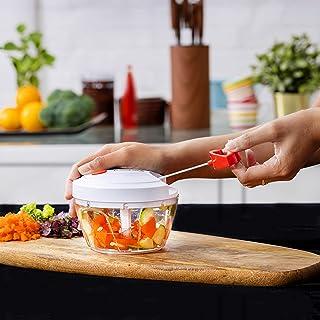 Delcasa Manual Food Chopper – Mini Food Processor – Manual Handheld Food Chopper/Cutter – Pull String to Slice Vegetables ...