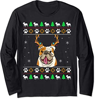 Bulldog With Antlers in an UGLY Christmas Long Sleeve T-Shirt