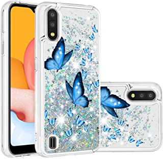 جراب سائل من Mylne لهاتف Samsung Galaxy A10، جراب عليه رسومات رمال متحركة لامعة لامعة براقة براقة ممتصة للصدمات باللون الأزرق