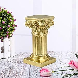 Disumos Roman Pillar Greek Column Resin Figurine Base Wedding Table Decorations 3.9x3.9x7.5in (Gold)
