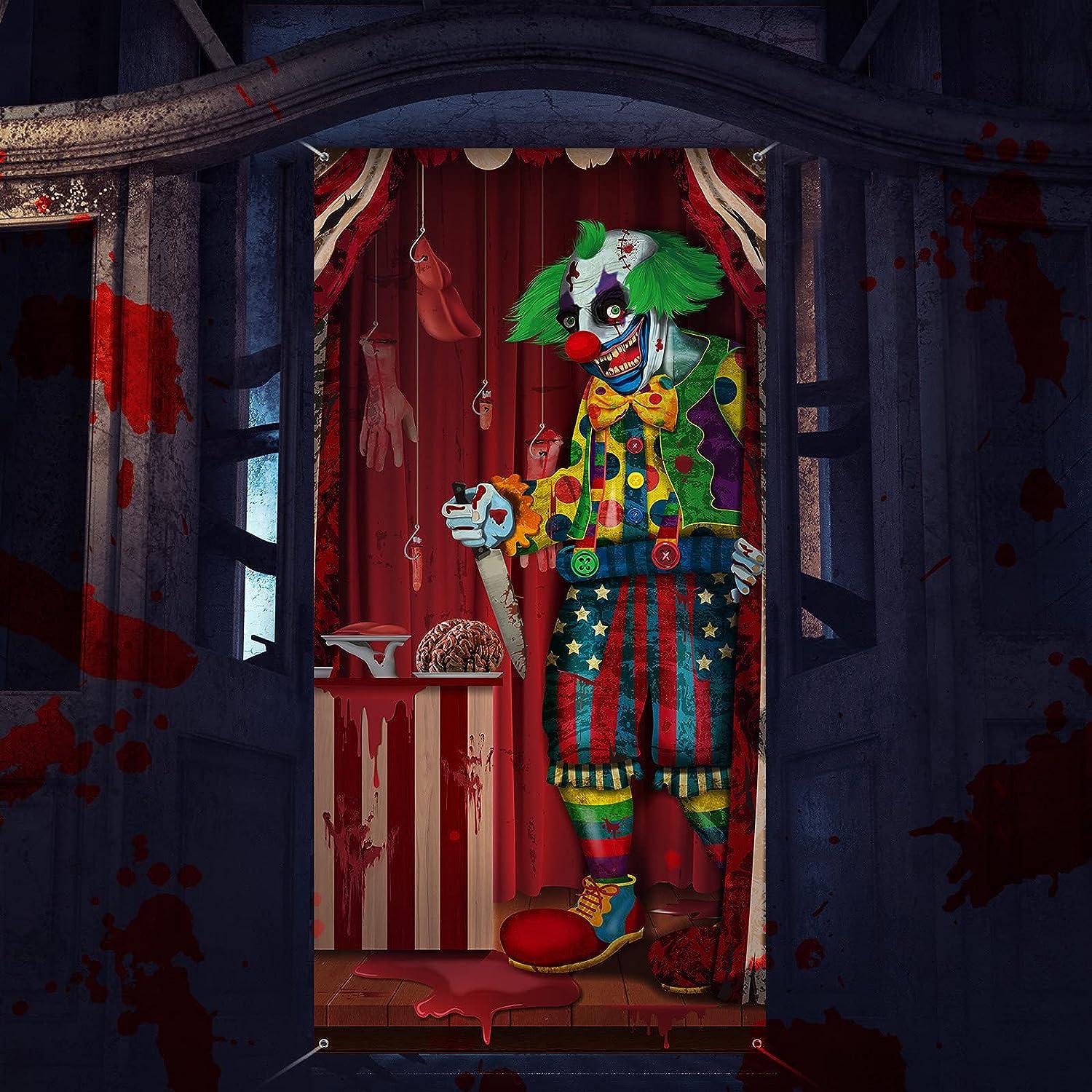 Decoraciones de Halloween Cubierta de Puerta Grande de Payaso Malvado Telón de Fondo de Puerta de Halloween de Tela Cubierta de Puerta Delantera de Tema de Payaso, 70,9 x 35,4 Pulgadas