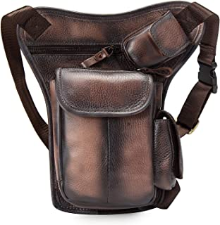 Le'aokuu Mens Real Cowhide Bull Leather Sling Bag Cycling One Shoulder Strap Bag Backpack Waist Chest Bag Pack Sports Bag Casual Bag