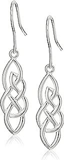 Sterling Silver Elongated Celtic Knot Drop Earrings