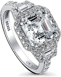 Rhodium Plated Sterling Silver Asscher Cut Cubic Zirconia CZ Halo Art Deco Engagement Ring 3.75 CTW