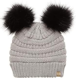 MIRMARU Kids Boys & Girls Winter Soft Warm Knitted Beanie Hat with Faux Fur Pom Pom for Ages 7-12