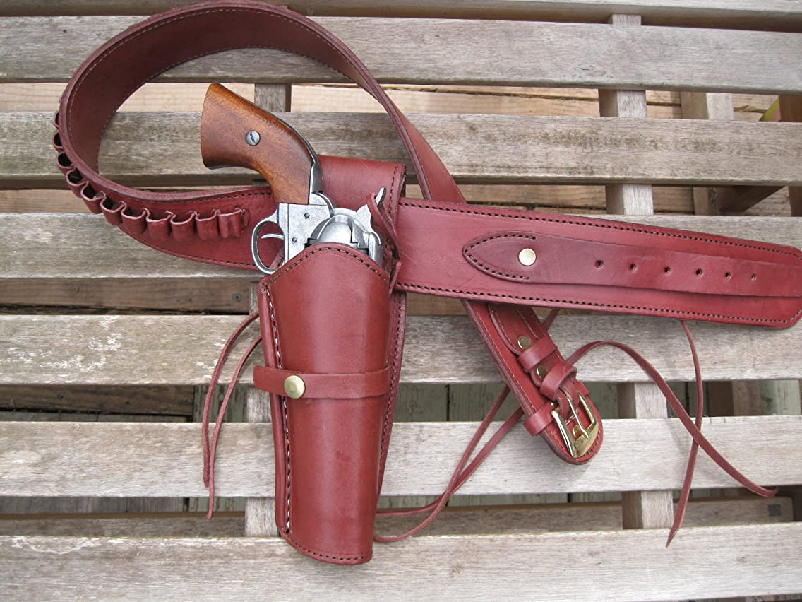 Gun belt - Leather - 45 Caliber - Burgundy Color with 6