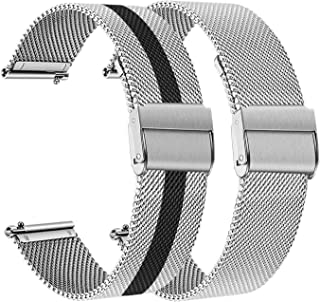 Bands for Samsung Galaxy Watch 46mm / Gear S3 Classic Frontier, TRUMiRR 2 PACK 22mm Mesh Woven Stainless Steel Watchband Quick Release Strap Wristband for TicWatch Pro, Fossil Men's Gen 4 Explorist HR