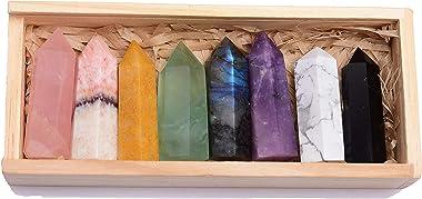 "Runyangshi 8pcs Natural Crystal Healing Tower Gift Set, 1.6""-2"" Crystal 6 Faceted Crystal Prism Wand for Reiki Chakra Meditat"