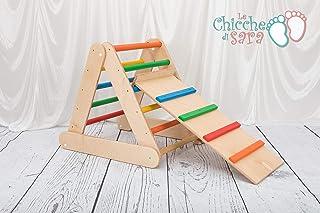 triangolo pikler 65-65-65 pieghevole con rampa e scivolo scala rampicante per bambini multicolor
