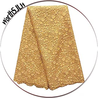 WorthSJLH 5 Yards African Lace Fabric 2018 Gold Nigerian French Lace Fabric Bridal Guipure Cord Lace Fabric for Party LF827(Gold)
