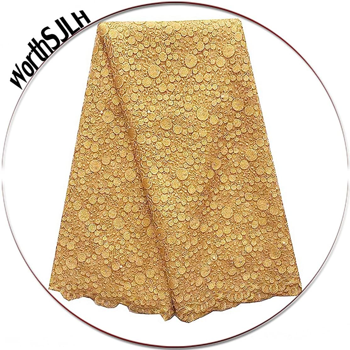 WorthSJLH 5 Yards African Lace Fabric 2018 Gold Nigerian French Lace Fabric Bridal Guipure Cord Lace Fabric for Party LF827(Gold))