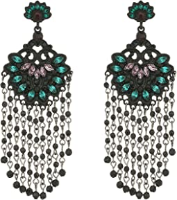 Steve Madden - Flower Statement Tassel Post Earrings