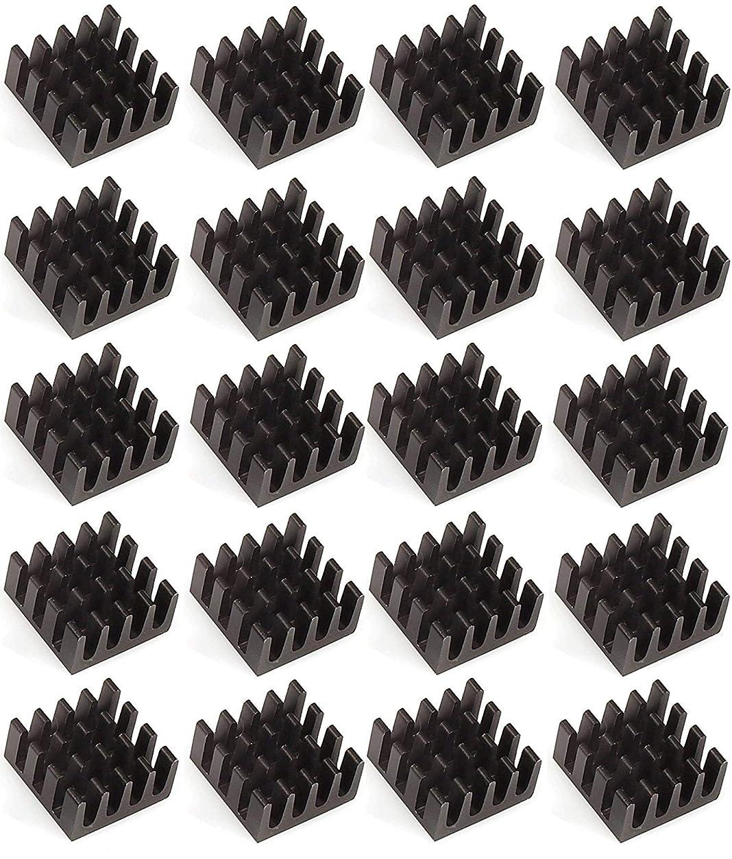 虫を数えるがっかりした積分Easycargo ヒートシンク 14x14x7mm ブラック アルマイト熱シンク 冷却クーラー GPUチップ VRAM VGA VRAM RAM RAM RAM (14mmx14mmx7mm) 20個