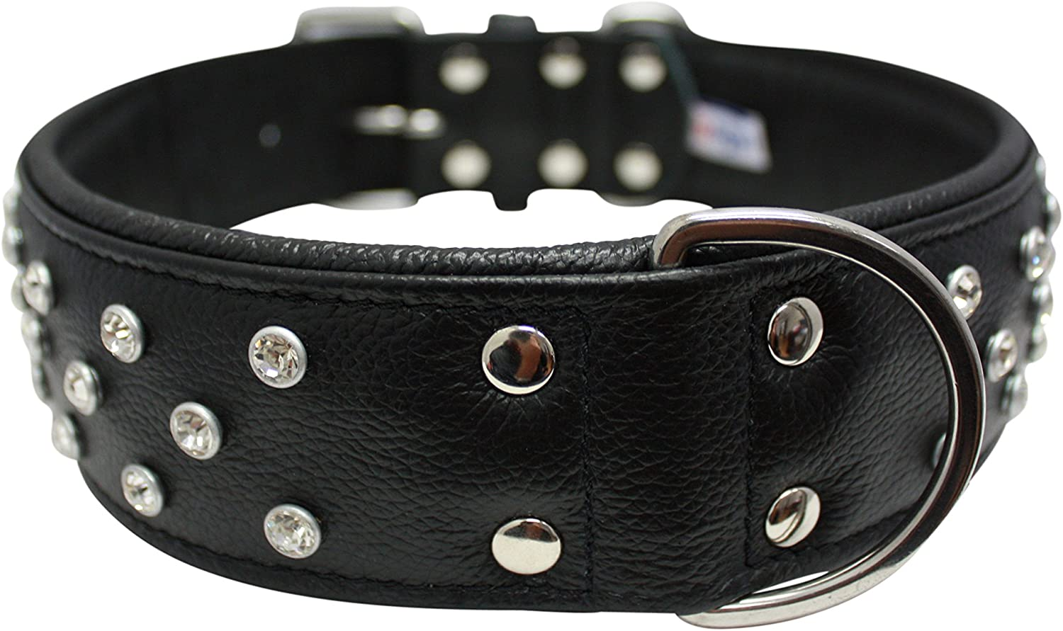 Rhinestones Bling Leather Dog Collar, Wide, Padded, DoublePly, Riveted Settings, 30  x 2 , Black. Stainless Steel (Athens) For Neck Size  23 27