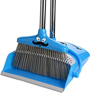Broom and Dustpan Set | Self Cleaning Bristles Broom and Dust Pan Combo, Dustpan and Broom with Long Handle For Kitchen Home Room Office Lobby Floor Sweep Upright Stand up