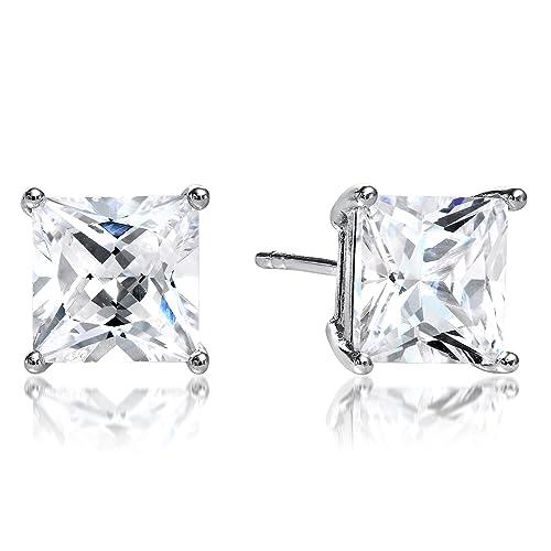fce9729fc Princess Cut Square Cz Basket Set 925 Sterling Silver Unisex Stud Earrings