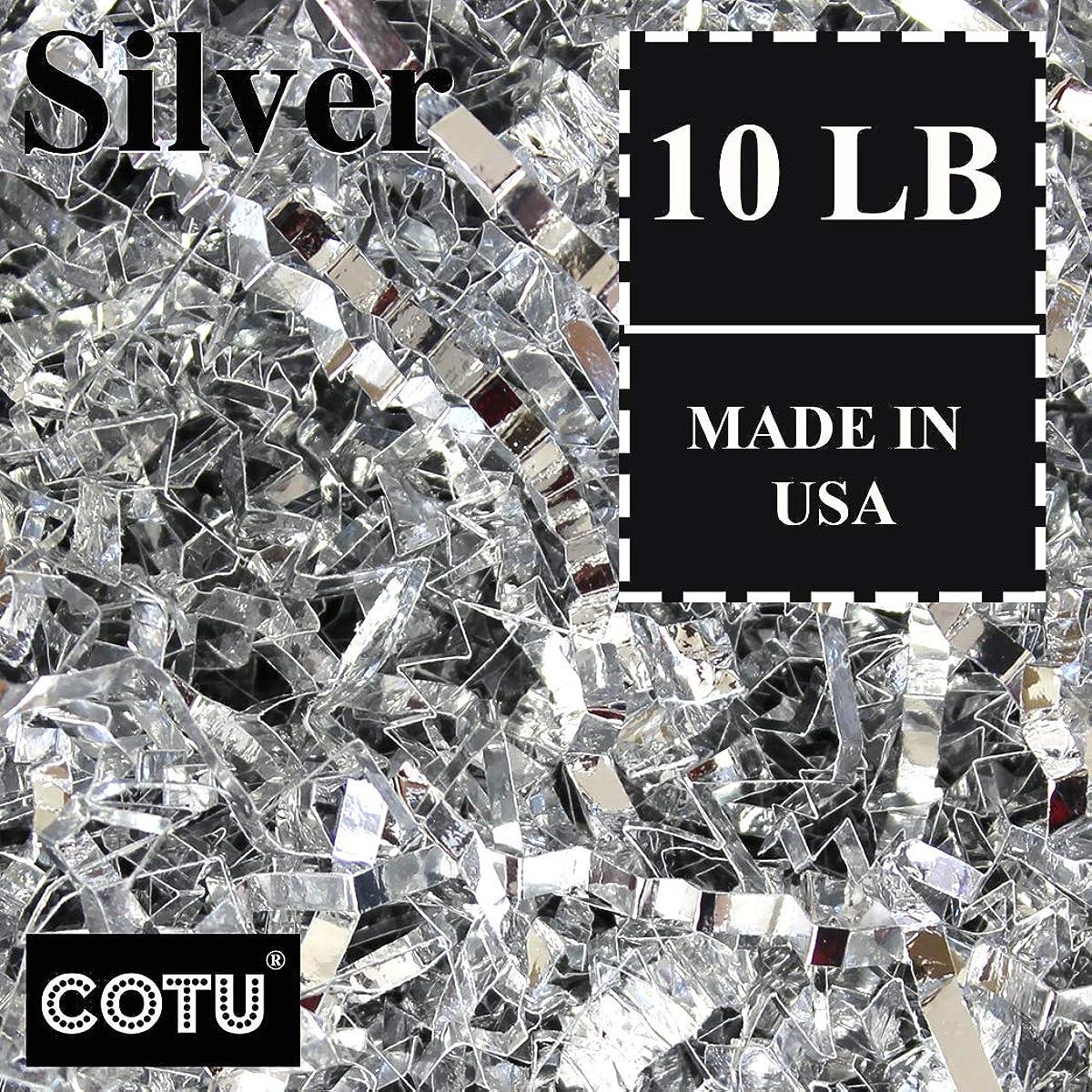10 LB Premium Silver Metallic Crinkle Shred Gift Basket Shred Crinkle Paper Filler Bedding by COTU (160 oz)