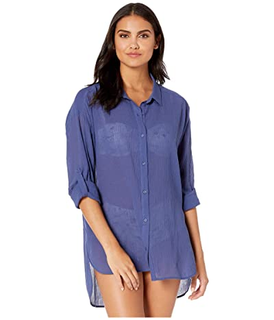 Seafolly Classic Beach Shirt Cover-Up (Blue Opal) Women