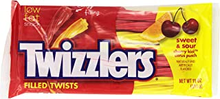 TWIZZLERS Filled Twists, Sweet & Sour Flavored Licorice Candy (Cherry Kick, Citrus Punch), 11-Ounce Bag (Pack of 6)