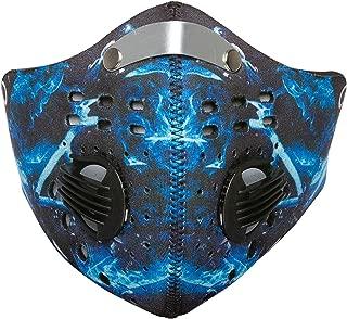 Debrief Me Dust Mask – Anti Pollution Breathable Respirator Mask (1 Mask + 4 Filters + 2 Valves) Carbon Activated Filtration - Breathable Reusable Washable - Comfy Cotton Adjustable (Bionic Blue)