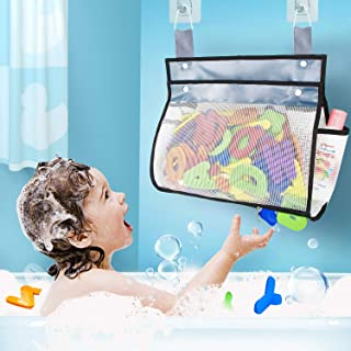 Bottom Zippered and Greater Capacity Tub Bath Toy Organizer with 2 Side Pockets,Large Opening Bathtub Shower Toy Organizer with 6 Strong Hooks,4 Cable Ties for Holding Toys,Baby Diapers,Clothes