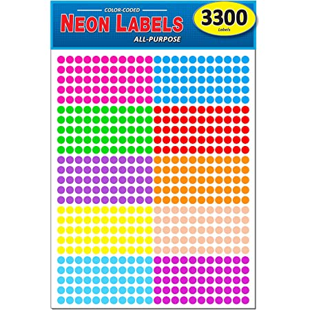 0.25 in. 8 1//2 x 11 Sheet Bright Purple Pack of 3300 1//4 Round Color Coding Circle Dot Labels