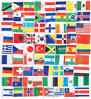 Juvale 72-Pack Country Flags - International Flags The World, Party Decorations, 72 Different Countries, Assorted Colors, 7.5 x 5.2 inches