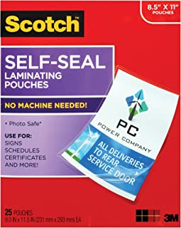 Scotch LS854WC Self-Sealing Laminating Pouches, Gloss Finish Letter Size, 25 Sheets, 9.0 in x 11.5 in