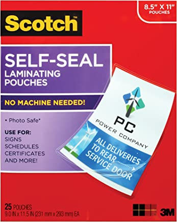 Scotch Self-Sealing Laminating Pouches, 25 Sheets, 9.0 in x 11.5 in, Gloss Finish Letter Size (LS854-25G-WM) (LS854WC)