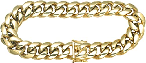 GOLD IDEA JEWELRY Hip Hop 12mm Miami Cuban Link Chain Heavy 14k Gold Plated Stainless Steel Necklace/Bracelet for Men
