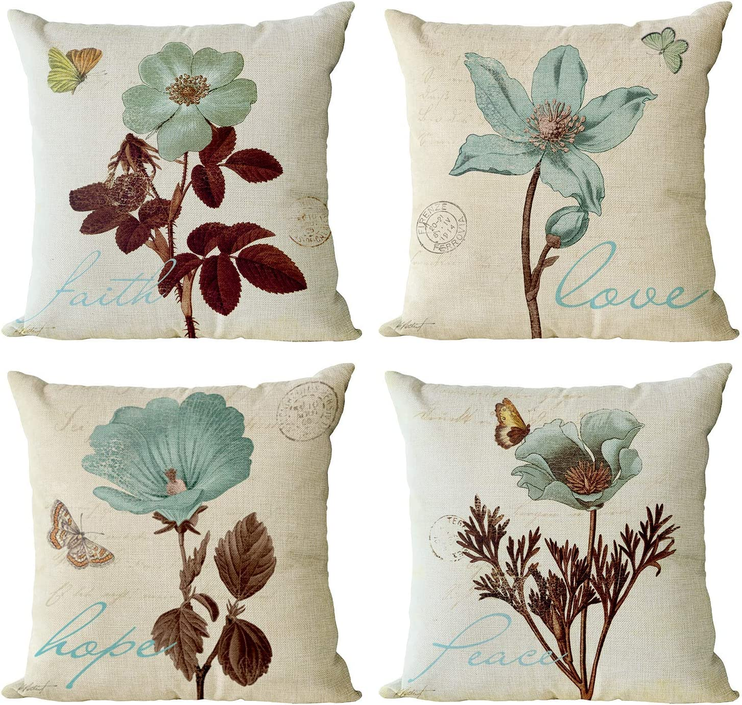 YeeJu Set of 4 Floral Decorative Throw Pillow Covers Plant Pillow Covers Cotton Linen Lotus Leaf Square Pillowcase Flower Outdoor Sofa Bedding Car and Home Decor Pillow Cushion Covers 20x20 Inch