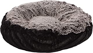 product image for BESSIE AND BARNIE Midnight Frost/Black Puma Ultra Plush Faux Fur Pet/Dog Bagelette Bed