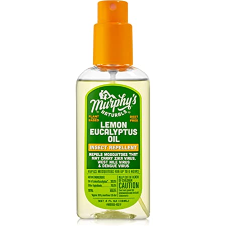 Murphy's Naturals Lemon Eucalyptus Oil Insect Repellent Spray   DEET Free   Plant Based, All Natural Ingredients   Mosquito and Tick Repellent   4 Ounce Pump Spray
