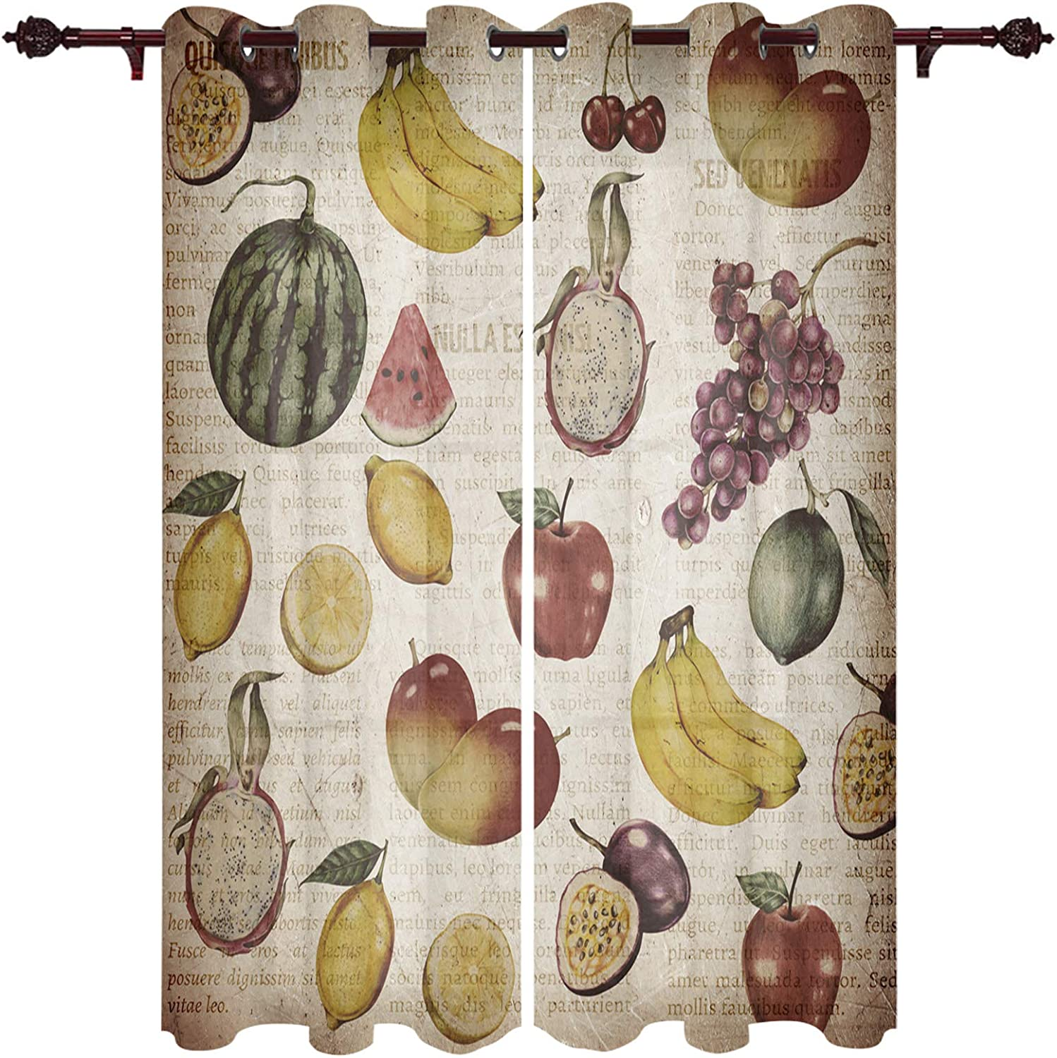 Window Treatment Sheer Curtains OFFicial site Max 67% OFF Vintage Waterme Drawn Hand Fruit