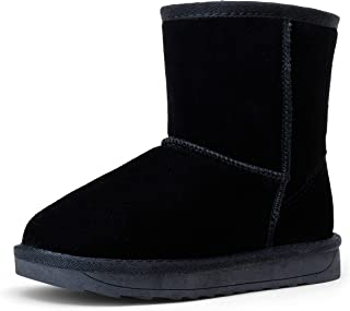 Sponsored Ad - Vepose Boy's Girl's Winter Snow Boots Cow Suede Leather Warm Classic Booties for Toddler Little Big Kids