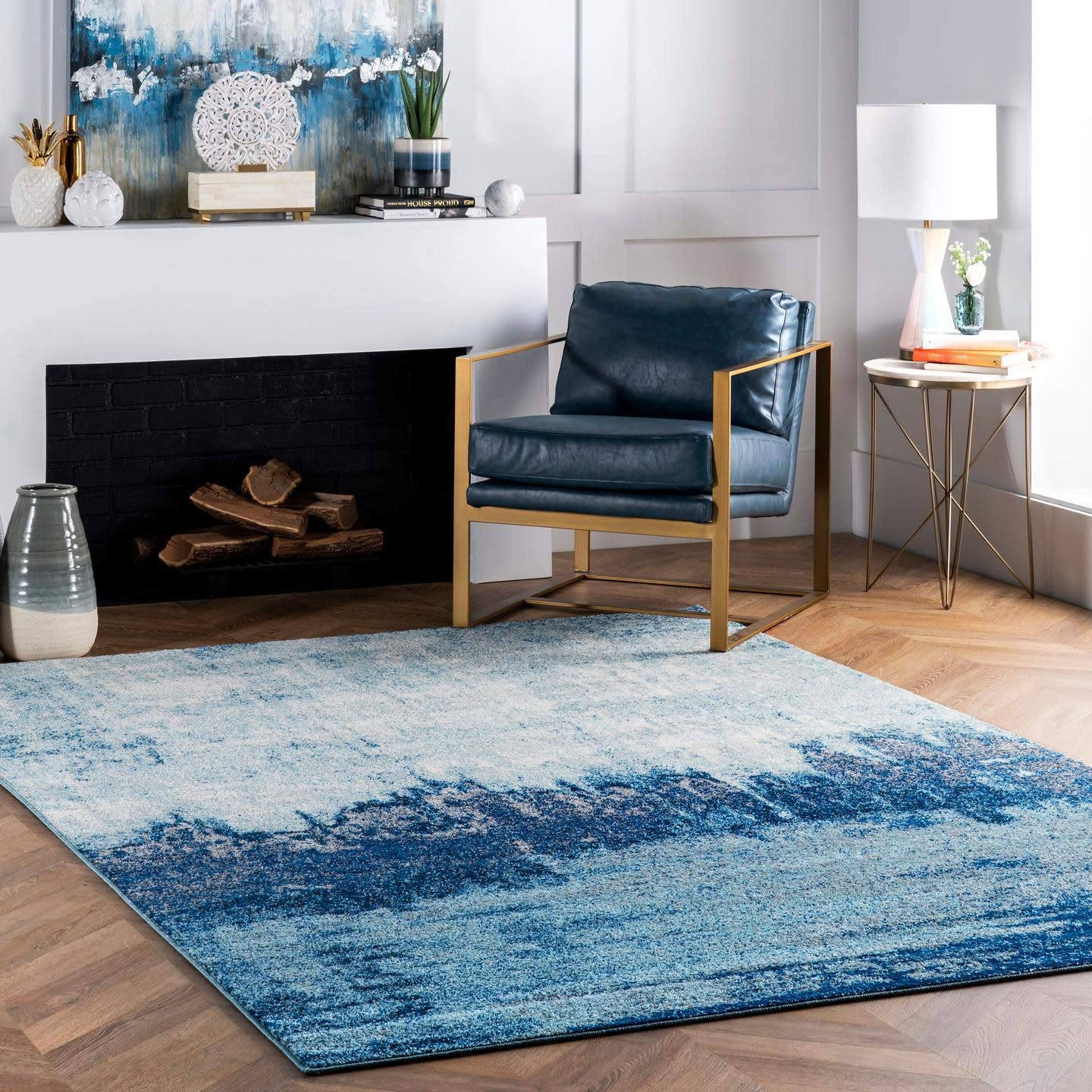 nuLOOM Alayna Abstract Area Rug 6' Square Excellent Blue ! Super beauty product restock quality top!
