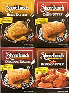 Variety Pack of 4 - Shore Lunch Chicken & Fish Breading/Batter Mixes - Beer Batter, Cajun Style, Original Recipe, Spicy Buffalo Style