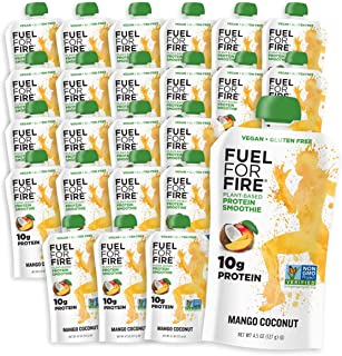 Fuel For Fire - Vegan Mango Coconut (24 Pack) Fruit & Plant-based Protein Smoothie Squeeze Pouch | Great for Workouts, Kids, Snacking - Gluten-Free, Soy-Free (4.5 ounce pouches)