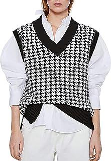 Oversized Houndstooth Knitted Women Sweater Vest V Neck...