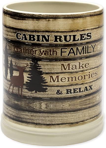 Cabin Rules Rustic Wood Outdoor Design Ceramic Stone Jar Warmer