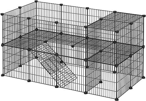 SONGMICS Enclos modulable pour Petits Animaux, Cage intérieur, 2 Niveaux, Maillet en Caoutchouc Offert, Cochon d'Inde...