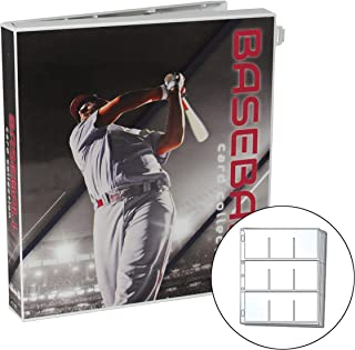 UniKeep Baseball Themed Trading Card Collection Binder with 25 Platinum Series Trading Card Pages - Case Features Metal Rings and a Fully Enclosed Case with Locking Latch