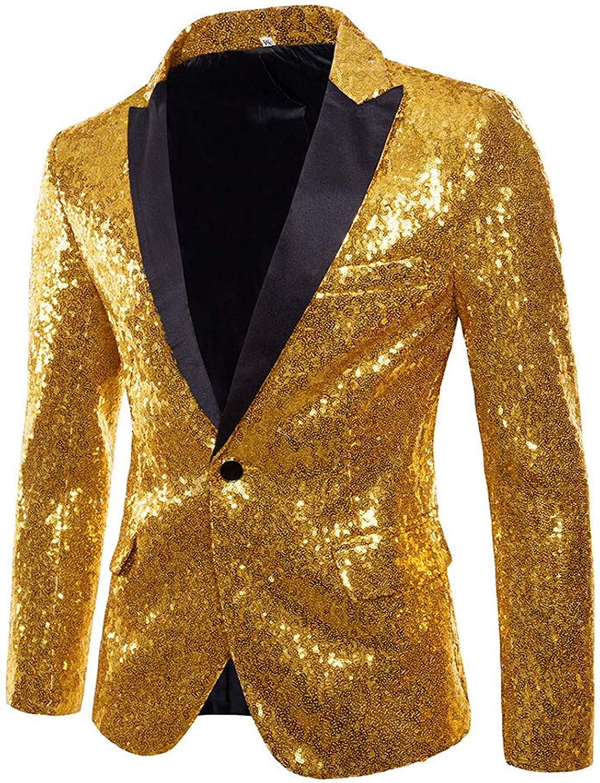 Everbeauty Men's Shiny Customized Sequins Blazer Jacket Festvail Costume Tuxedos for Men Colorful EJK005